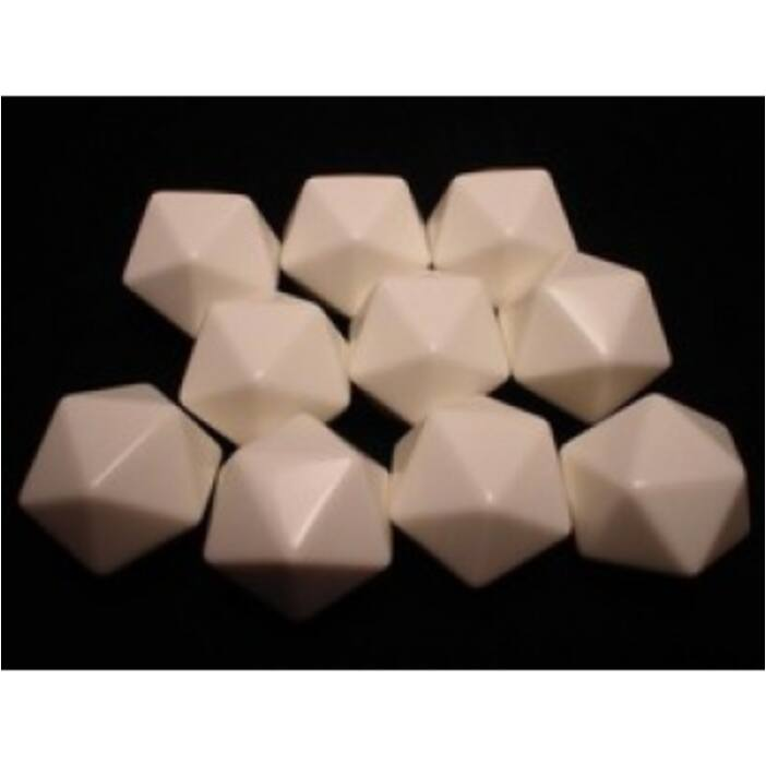 Chessex Opaque Polyhedral Bag of 10 Blank dice - Opaque Polyhedral Ivory Bag of 20 Blank 20-sided dice