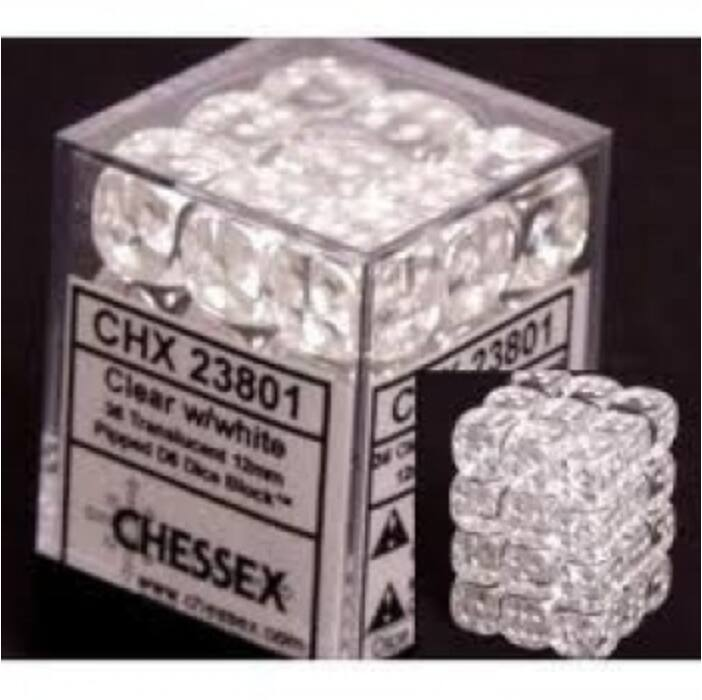 Chessex Translucent 12mm d6 with pips Dice Blocks (36 Dice) - Clear w/white