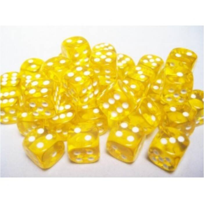 Chessex Translucent 12mm d6 with pips Dice Blocks (36 Dice) - Yellow w/white