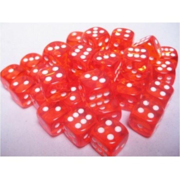 Chessex Translucent 12mm d6 with pips Dice Blocks (36 Dice) - Orange w/white