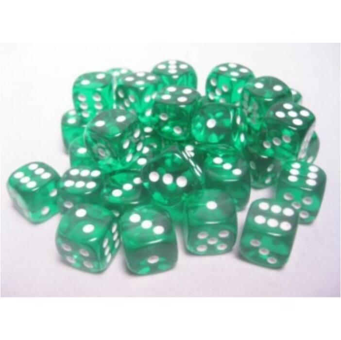 Chessex Translucent 12mm d6 with pips Dice Blocks (36 Dice) - Green w/white
