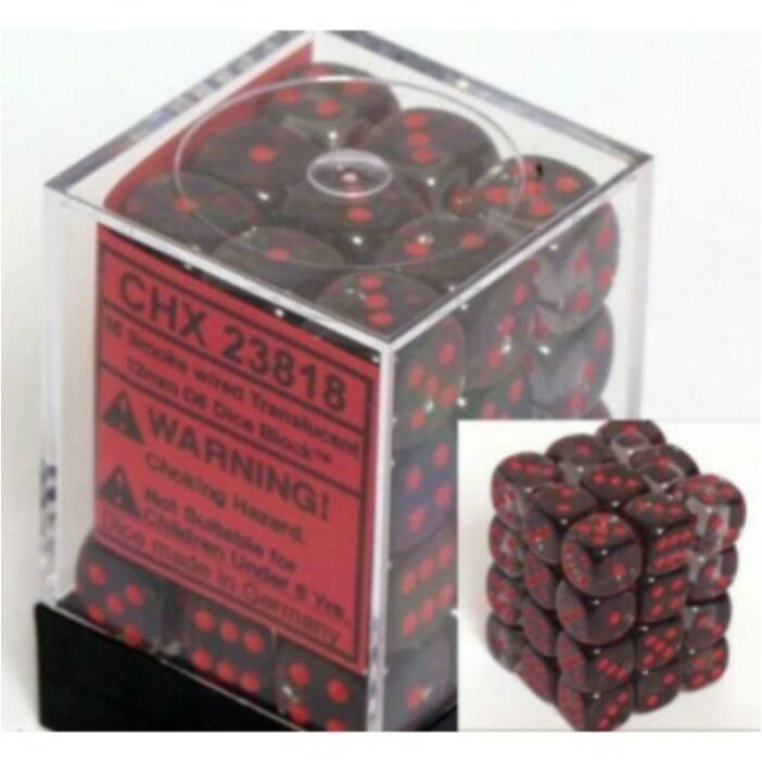 Chessex Translucent 12mm d6 with pips Dice Blocks (36 Dice) - Smoke w/red
