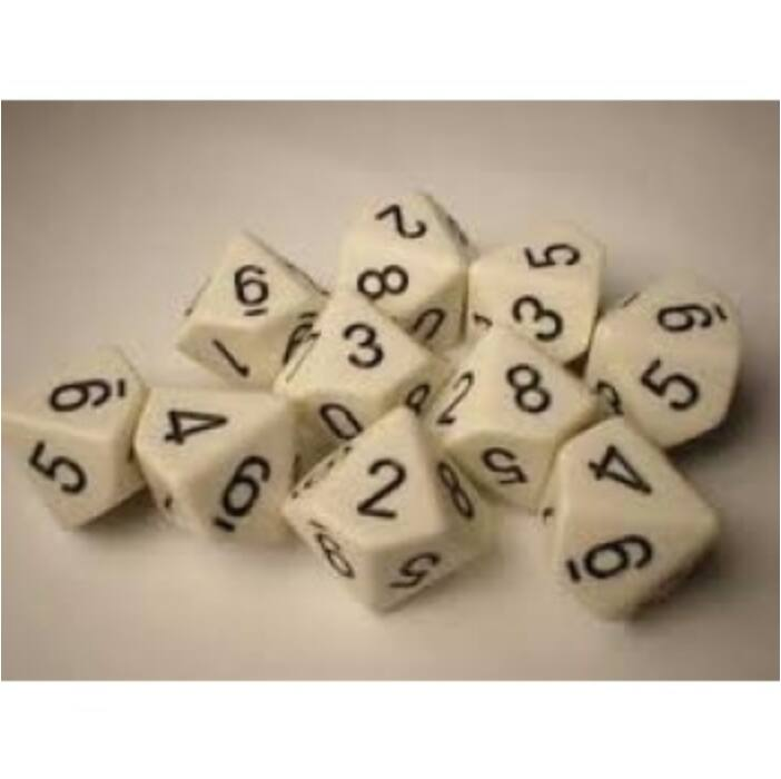 Chessex Opaque Polyhedral Ten d10 Set - White/black