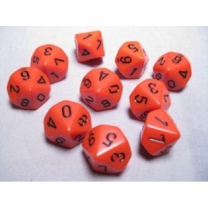 Chessex Opaque Polyhedral Ten d10 Set - Orange/black