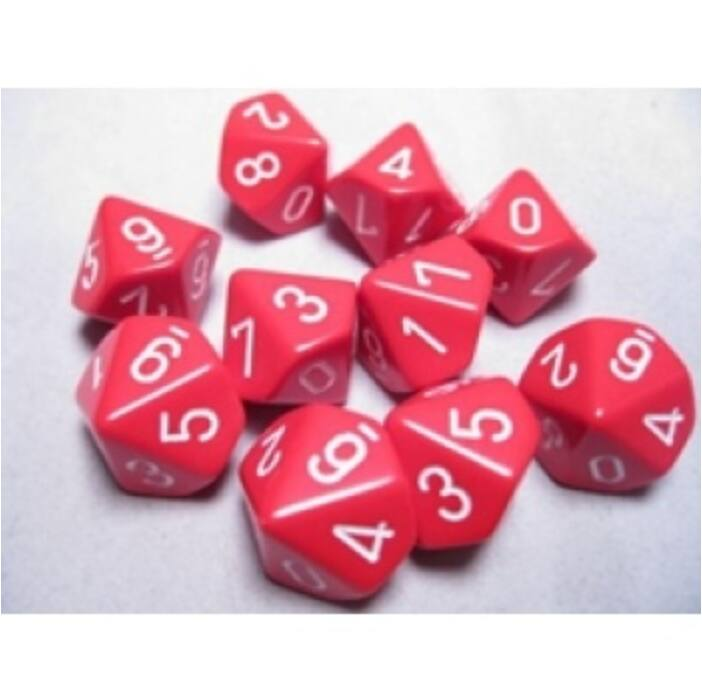 Chessex Opaque Polyhedral Ten d10 Set - Red/white