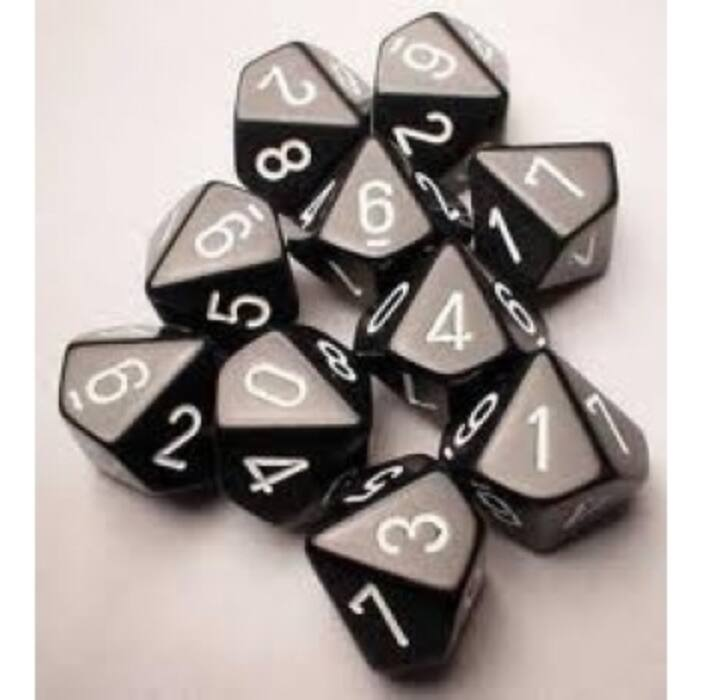 Chessex Opaque Polyhedral Ten d10 Set - Black/white