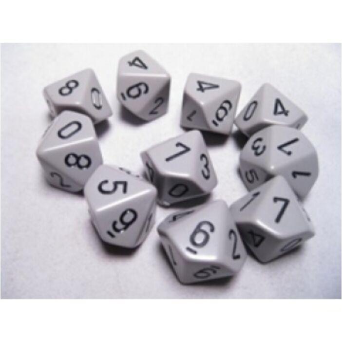 Chessex Opaque Polyhedral Ten d10 Set - Grey/black