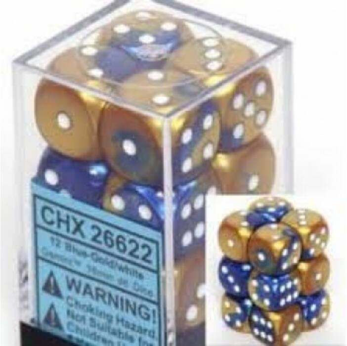 Chessex Gemini 16mm d6 with pips Dice Blocks (12 Dice) - Blue-Gold w/white