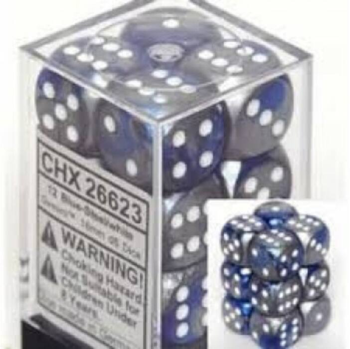 Chessex Gemini 16mm d6 with pips Dice Blocks (12 Dice) - Blue-Steel w/white