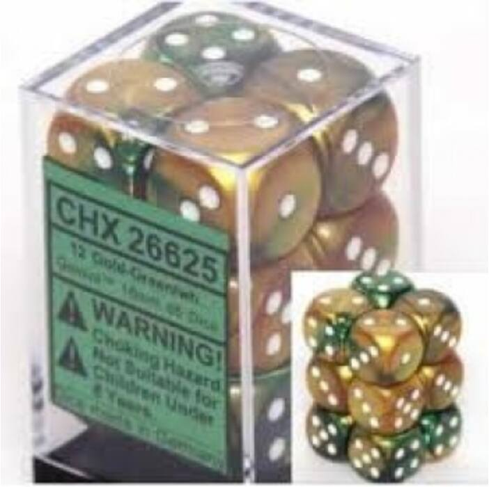 Chessex Gemini 16mm d6 with pips Dice Blocks (12 Dice) - Gold-Green w/white