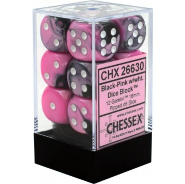 Chessex Gemini 16mm d6 with pips Dice Blocks (12 Dice) - Black-Pink w/white