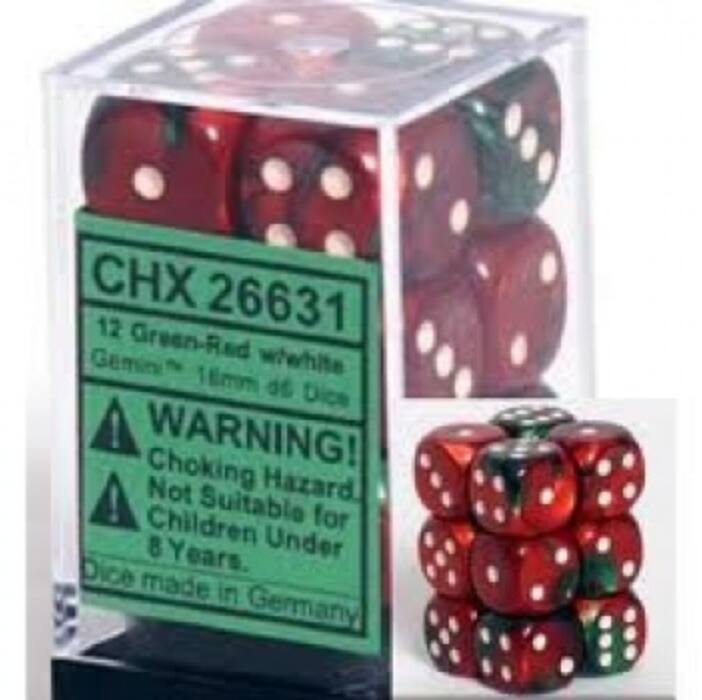 Chessex Gemini 16mm d6 with pips Dice Blocks (12 Dice) - Green-Red w/white