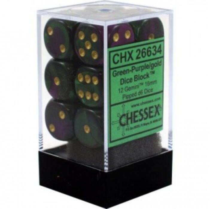 Chessex Gemini 16mm d6 with pips Dice Blocks (12 Dice) - Green-Purple w/gold