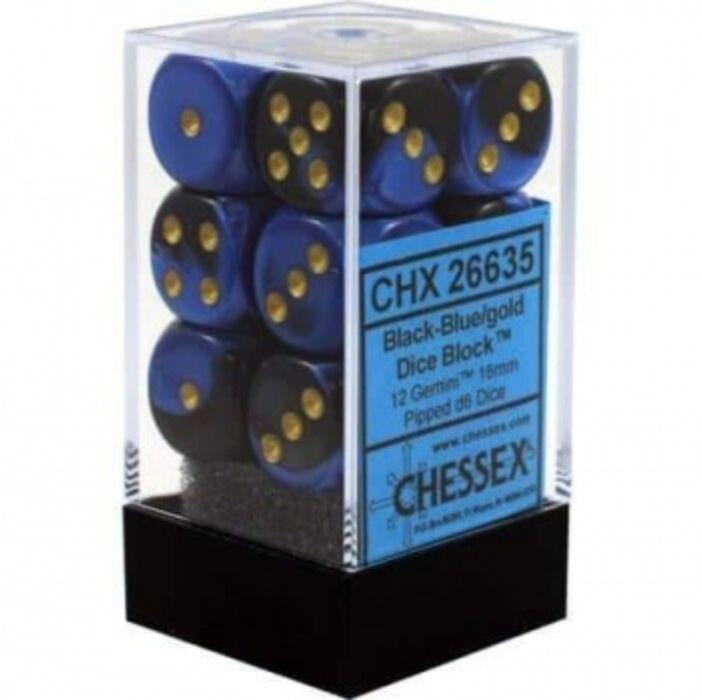 Chessex Gemini 16mm d6 with pips Dice Blocks (12 Dice) - Black-Blue w/gold