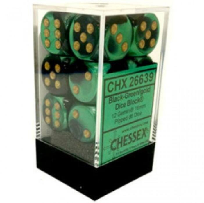 Chessex Gemini 16mm d6 with pips Dice Blocks (12 Dice) - Black-Green w/gold