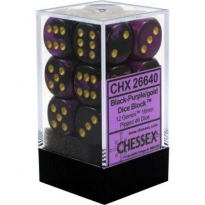 Chessex Gemini 16mm d6 with pips Dice Blocks (12 Dice) - Black-Purple w/gold