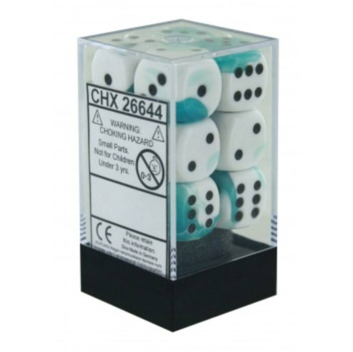 Chessex Gemini 16mm d6 with pips Dice Blocks (12 Dice) - White-Teal w/black