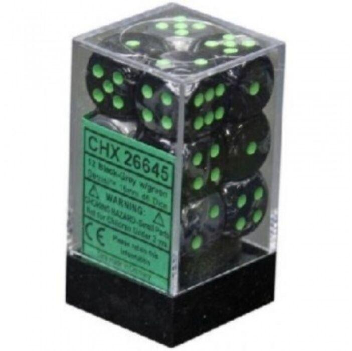 Chessex Gemini 16mm d6 with pips Dice Blocks (12 Dice) - Black-Grey w/green