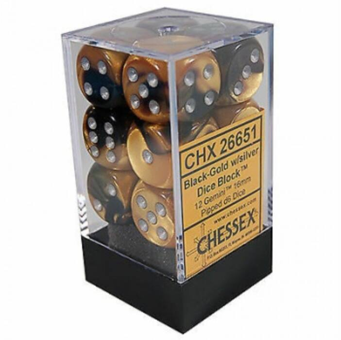 Chessex Gemini 16mm d6 with pips Dice Blocks (12 Dice) - Black-Gold w/silver