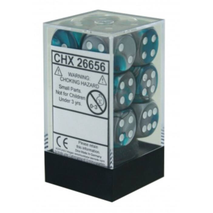Chessex Gemini 16mm d6 with pips Dice Blocks (12 Dice) - Steel-Teal w/white