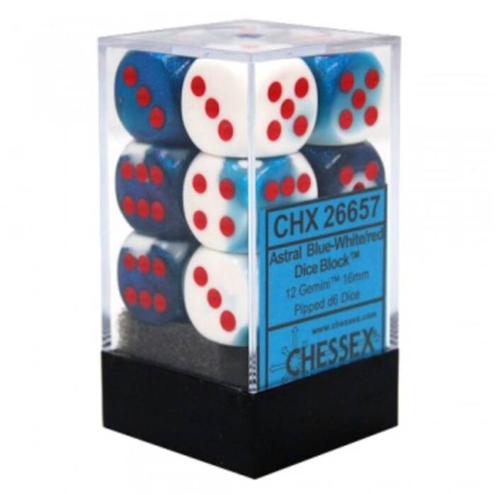Chessex Gemini 16mm d6 with pips Dice Blocks (12 Dice) - Astral Blue-White w/red