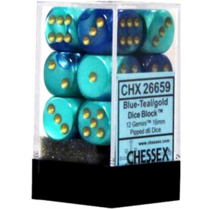 Chessex Gemini 16mm d6 with pips Dice Blocks (12 Dice) - Blue-Teal w/gold