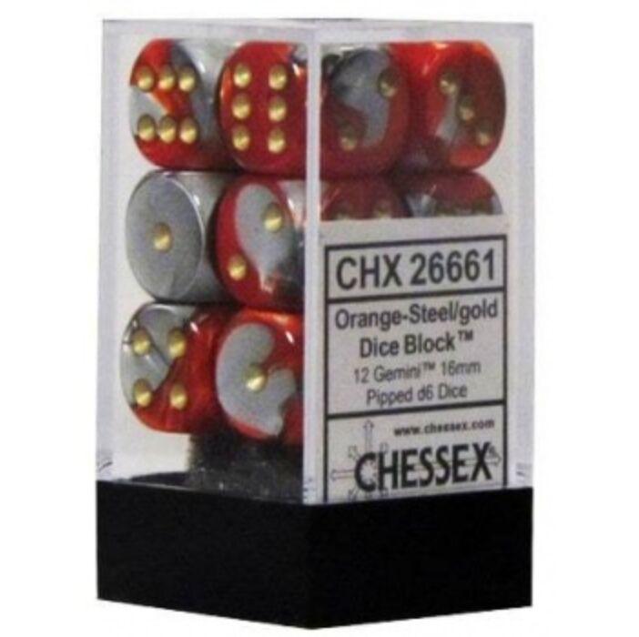 Chessex Gemini 16mm d6 with pips Dice Blocks (12 Dice) - Orange-Steel w/gold