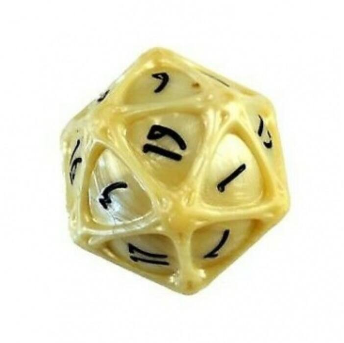 PolyHero 1d20 Orb - Parchment with Black Ink