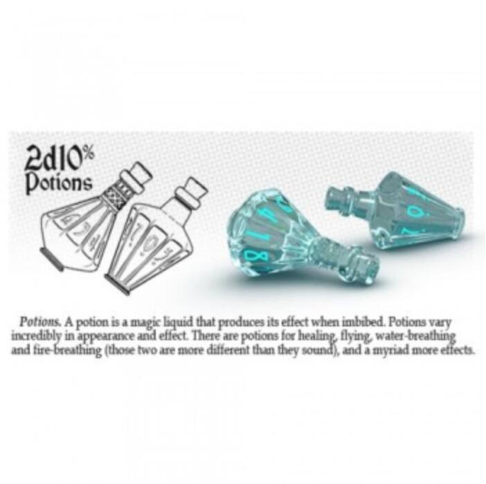 PolyHero 2d10 Potions - Ethereal Ice with Burning Blue