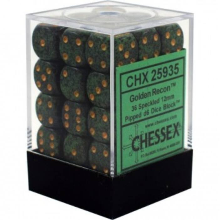 Chessex Speckled 12mm d6 Dice Blocks with Pips (36 Dice) - Golden Recon