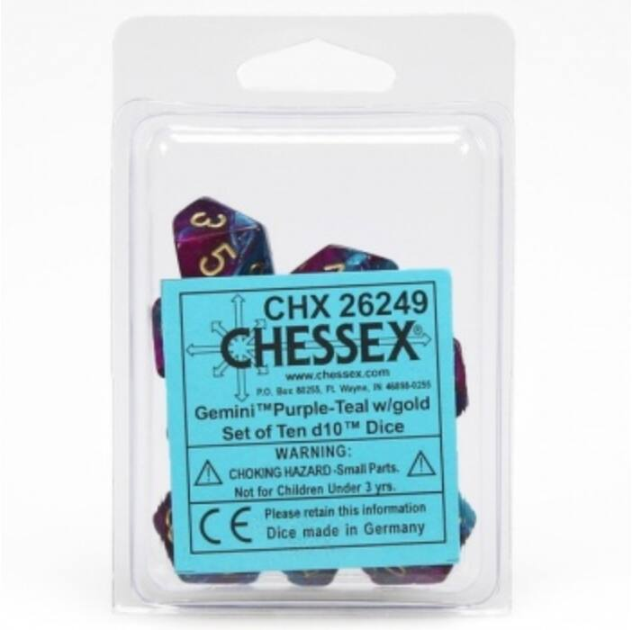 Chessex Gemini Polyhedral Ten d10 Sets - Purple-Teal w/gold