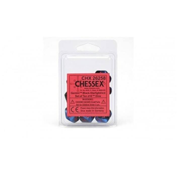 Chessex Gemini Polyhedral Ten d10 Sets - Black-Starlight w/red