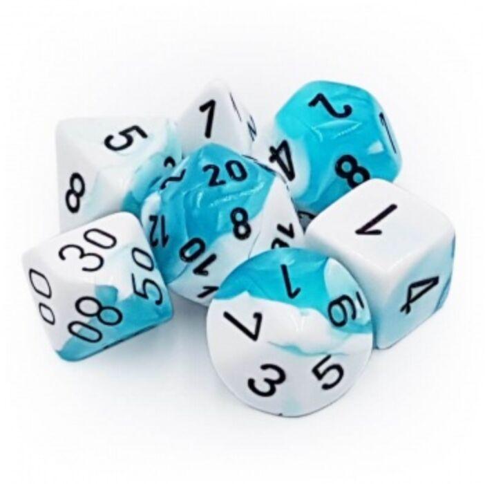 Chessex Gemini Polyhedral 7-Die Set - White-Teal w/black