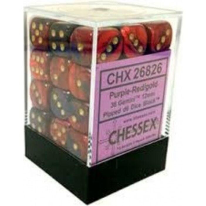 Chessex Gemini 12mm d6 Dice Blocks with pips Dice Blocks (36 Dice) - Purple-Red w/gold