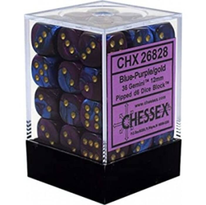 Chessex Gemini 12mm d6 Dice Blocks with pips Dice Blocks (36 Dice) - Blue-Purple w/gold