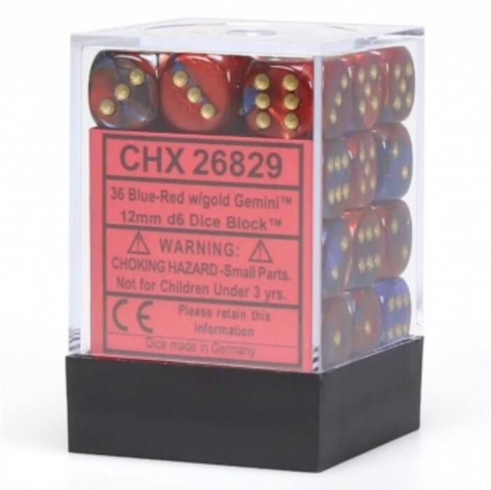 Chessex Gemini 12mm d6 Dice Blocks with pips Dice Blocks (36 Dice) - Blue-Red w/gold