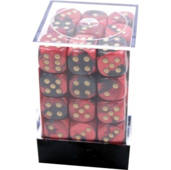 Chessex Gemini 12mm d6 Dice Blocks with pips Dice Blocks (36 Dice) - Black-Red w/gold