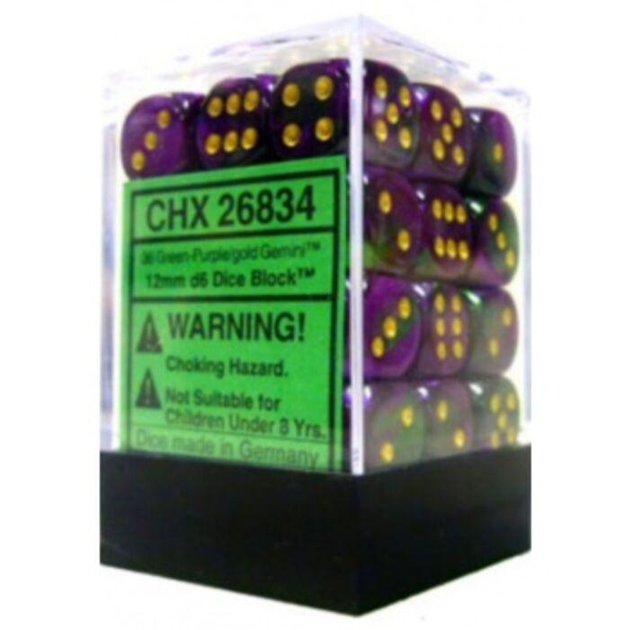 Chessex Gemini 12mm d6 Dice Blocks with pips Dice Blocks (36 Dice) - Green-Purple w/gold
