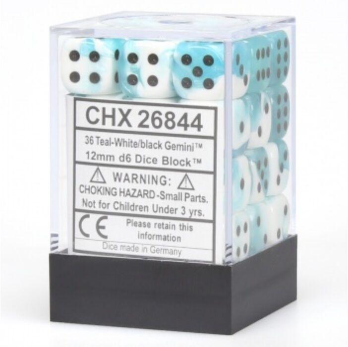 Chessex Gemini 12mm d6 Dice Blocks with pips Dice Blocks (36 Dice) - White-Teal w/black