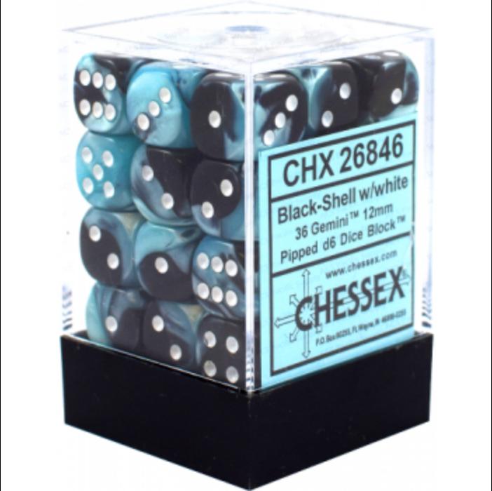 Chessex Gemini 12mm d6 Dice Blocks with pips Dice Blocks (36 Dice) - Black-Shell w/white