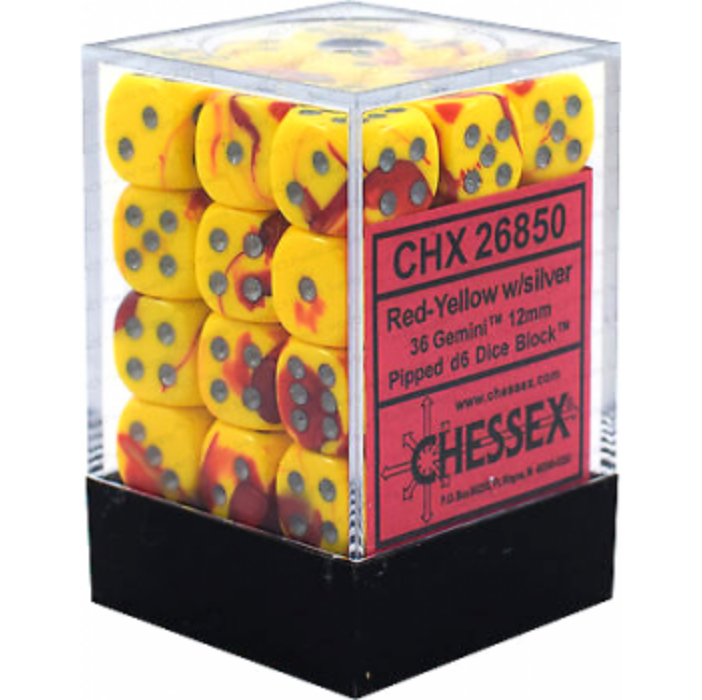 Chessex Gemini 12mm d6 Dice Blocks with pips Dice Blocks (36 Dice) - Red-Yellow w/silver