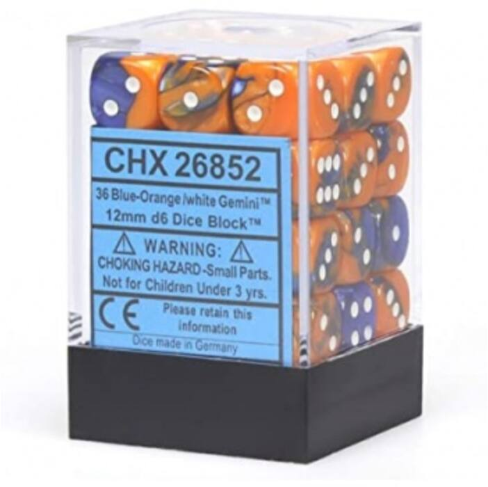 Chessex Gemini 12mm d6 Dice Blocks with pips Dice Blocks (36 Dice) - Blue-Orange w/white