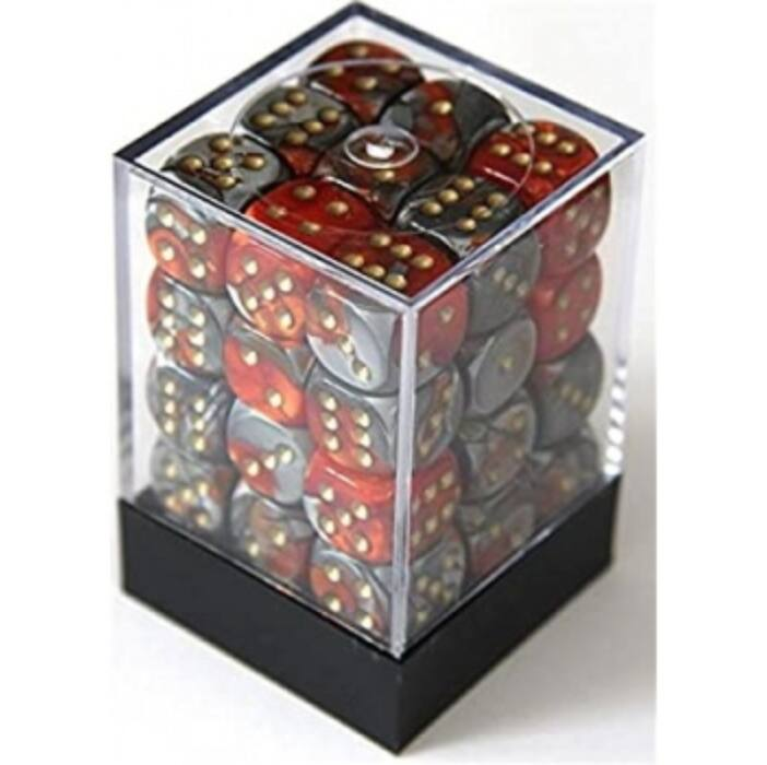 Chessex Gemini 12mm d6 Dice Blocks with pips Dice Blocks (36 Dice) - Orange-Steel w/gold