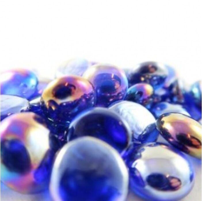 Chessex Gaming Glass Stones in Tube - Iridized Dark Blue (40)