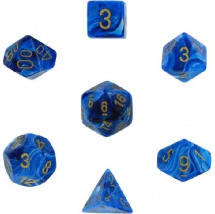 Chessex Vortex 7-Die Set - Blue w/gold