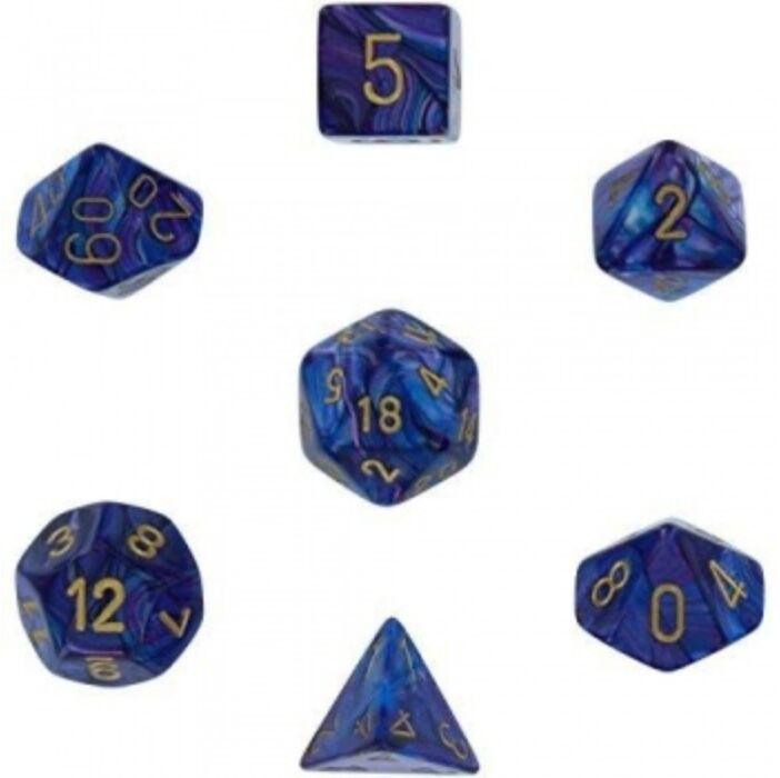 Chessex Lustrous 7-Die Set - Purple w/gold