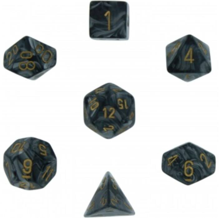 Chessex Lustrous 7-Die Set - Black w/gold