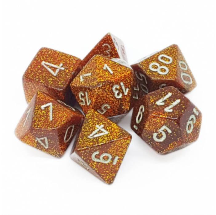 Chessex Glitter Polyhedral 7-Die Set - Gold w/silver