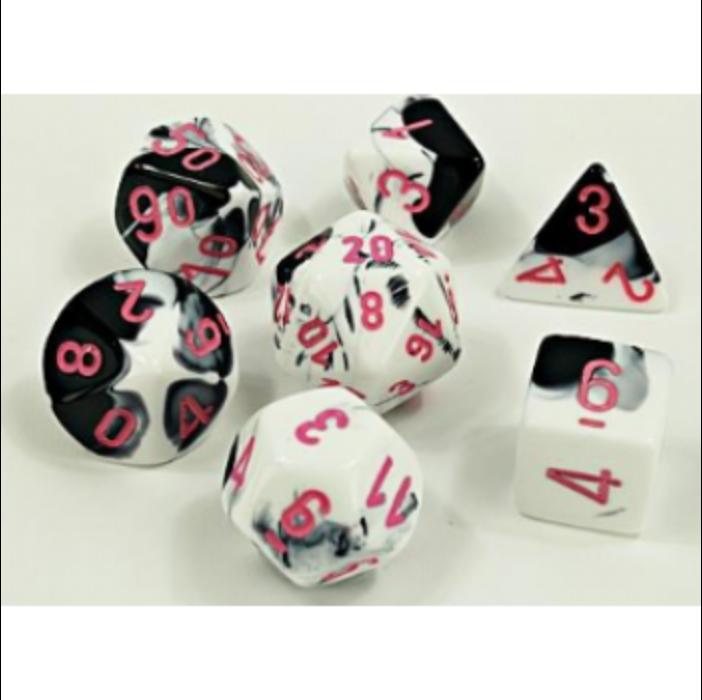 Chessex Lab Dice 4 - 7 Die Set Gemini Black-White/pink