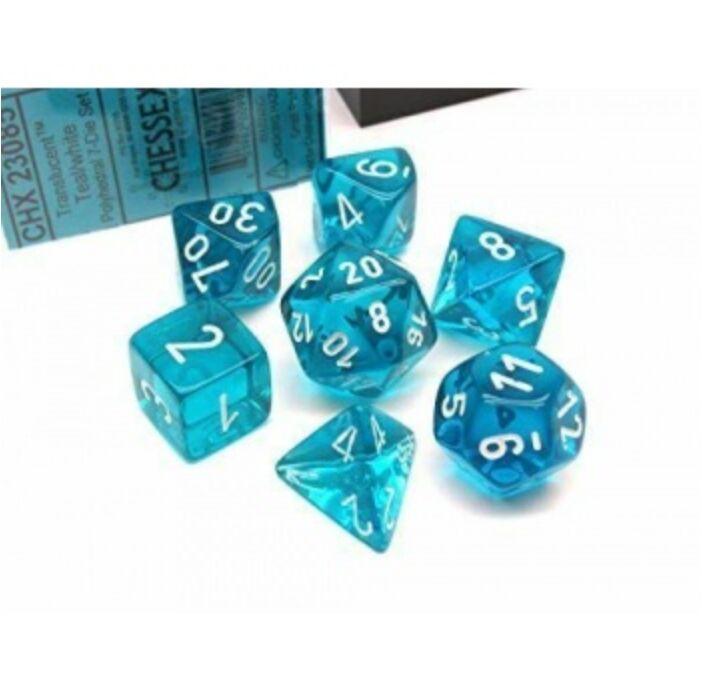 Chessex Translucent Polyhedral 7-Die Set - Teal/white